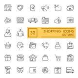 Iconos del vector de las compras fijados Iconos planos finos, diseño del esquema EPS 10 Fotografía de archivo libre de regalías