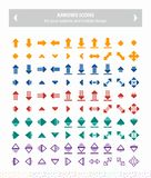 Iconos del vector de las flechas - coloridos imagen de archivo libre de regalías