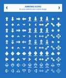 Iconos del vector de las flechas - completamente blancos foto de archivo libre de regalías