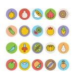 Iconos 5 del vector de las frutas y verduras Imágenes de archivo libres de regalías