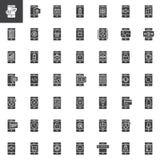 Iconos del vector de las funciones del teléfono móvil y del smartphone fijados Imágenes de archivo libres de regalías