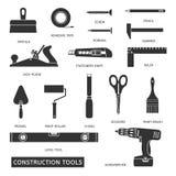 Iconos del vector de las herramientas de la construcción fijados Fotos de archivo libres de regalías