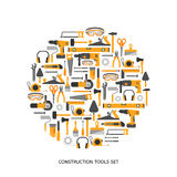 Iconos del vector de las herramientas de la construcción fijados Imagen de archivo