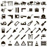 Iconos del vector de las herramientas del edificio y del edificio Fotos de archivo libres de regalías