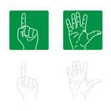 Iconos del vector de las manos stock de ilustración