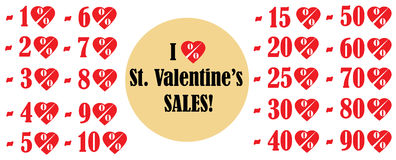 Iconos del vector de las ventas del día de tarjeta del día de San Valentín Imagen de archivo