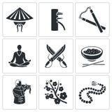 Iconos del vector de los artes marciales fijados stock de ilustración