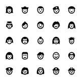 Iconos 3 del vector de los avatares de la gente Imagen de archivo