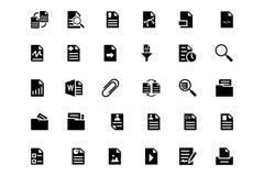 Iconos 3 del vector de los documentos Foto de archivo