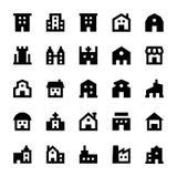 Iconos 1 del vector de los edificios Foto de archivo