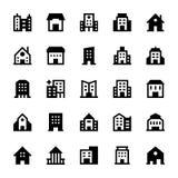 Iconos 3 del vector de los edificios Fotografía de archivo