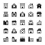 Iconos 1 del vector de los edificios Imagen de archivo libre de regalías