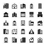Iconos 2 del vector de los edificios Imagen de archivo