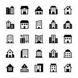 Iconos 3 del vector de los edificios Fotografía de archivo libre de regalías
