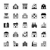 Iconos 1 del vector de los edificios Foto de archivo libre de regalías