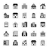 Iconos 3 del vector de los edificios Imagen de archivo