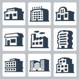 Iconos del vector de los edificios, estilo isométrico #1 Imágenes de archivo libres de regalías