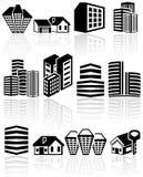 Iconos del vector de los edificios fijados. EPS 10. Imagen de archivo