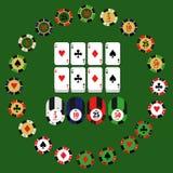 Iconos del vector de los elementos del diseño del casino Juegos del casino Ace que juega c Foto de archivo
