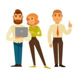 Iconos del vector de los hombres de negocios o de los administradores de oficinas y de los trabajadores fijados stock de ilustración
