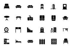 Iconos 1 del vector de los muebles stock de ilustración