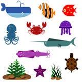 Iconos del vector de los pescados planos fijados Fotos de archivo libres de regalías