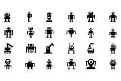 Iconos 4 del vector de los robots Foto de archivo libre de regalías