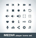 Iconos del vector de Media Player fijados Foto de archivo libre de regalías