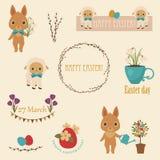 Iconos del vector de Pascua fijados ilustración del vector