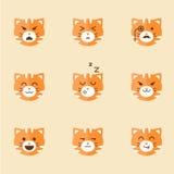 Iconos del vector de Smiley Cat Faces Imágenes de archivo libres de regalías