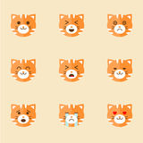Iconos del vector de Smiley Cat Faces Fotos de archivo libres de regalías