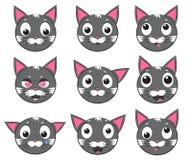 Iconos del vector de Smiley Cat Faces Foto de archivo libre de regalías