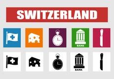 Iconos del vector de Suiza Imagen de archivo libre de regalías