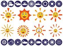 Iconos del vector de Sun Imágenes de archivo libres de regalías