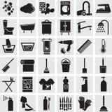 36 iconos del vector de un cuarto de baño y de un retrete Foto de archivo