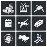 Iconos del vector del accidente de avión fijados Fotos de archivo libres de regalías