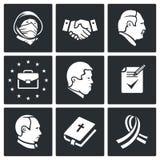 Iconos del vector del acuerdo de Minsk fijados Imagenes de archivo