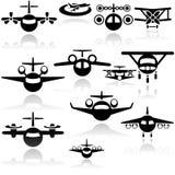 Iconos del vector del aeroplano fijados. EPS 10 Imágenes de archivo libres de regalías