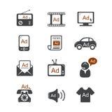 Iconos del vector del anuncio Imágenes de archivo libres de regalías