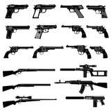 Iconos del vector del arma y del arma automática Los militares combaten pictogramas de las armas de fuego stock de ilustración
