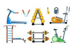 Iconos del vector del club del gimnasio de la aptitud Foto de archivo
