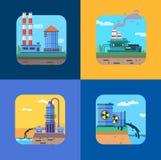 Iconos del vector del concepto de la ecología fijados para el ambiente stock de ilustración