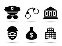 Iconos del vector del criminal y de la prisión fijados Fotos de archivo libres de regalías