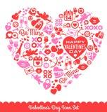 Iconos del vector del día de tarjeta del día de San Valentín Fotografía de archivo libre de regalías