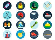 Iconos del vector del deporte de invierno fijados Fotos de archivo libres de regalías