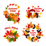 Iconos del vector del descuento de las compras de la venta del otoño fijados Foto de archivo