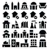 Iconos 3 del vector del edificio y de los muebles Imagen de archivo