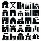 Iconos 4 del vector del edificio y de los muebles Fotografía de archivo