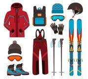 Iconos del vector del equipo del esquí Fotografía de archivo
