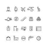 Iconos del vector del esquema de la aviación fijados stock de ilustración